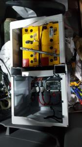 Loads of batteries in the undersea stash - and solar on the roof to charge them.